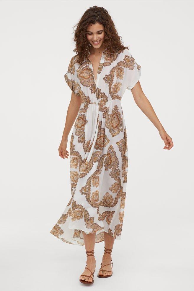 Lyocell-blend Dress - Natural white/paisley pattern - Ladies   H&M US
